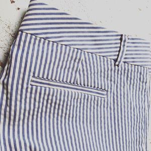 women's cotton pants white blue stripe